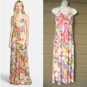 TOMMY BAHAMA Dress, S, Maxi Floral Beaded Halter